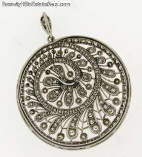 Antique Art Deco 148 Diamonds 18k White Gold Pendant