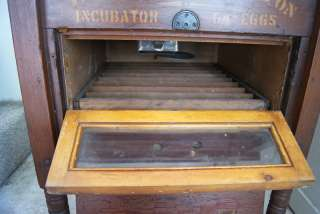Antique Egg Incubator Rustic Wooden Side Table w/ Glass Cabinet