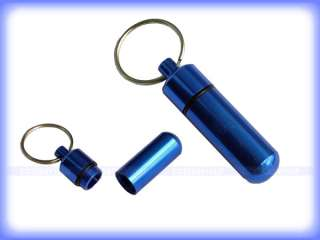 Mini Aluminum Pill Box Case Container Keychain Keyring