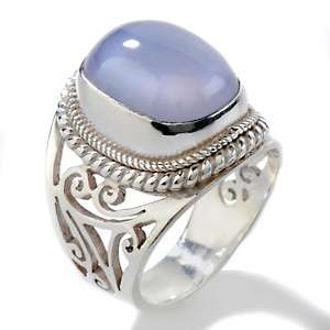 Himalayan Gems™ Blue Chalcedony Sterling Silver Cushion Ring