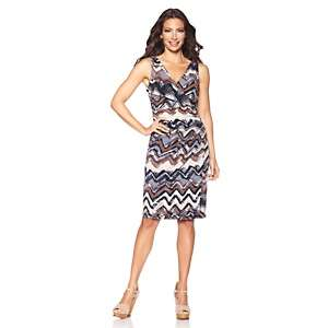 IMAN Global Chic Printed Glamour Ruched & Sexy V neck Dress