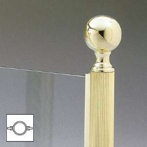 Lawrence Metal Products Polished Brass Reeded Tubing Ball Top Round