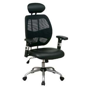 Woven Mesh Back Office Desk Chair with Black Faux Leather