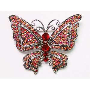 Fancy Indian Ruby Rainbow Red Crystal Rhinestone Butterfly Pin Brooch