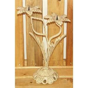 2 Branch White Metal Candle Holder