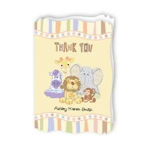 Zoo Crew   Personalized Baby Thank You Cards With Squiggle
