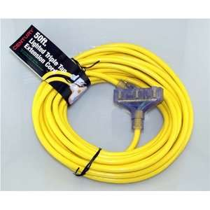 50, 12/3, Triple Tap Extension Cord with Yellow Light