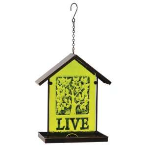 Evergreen 2BF004 Garden Embossed Glass Hanging Bird Feeder