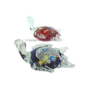 Pair Art Glass Gold Silver Leaf Turtle Figurines