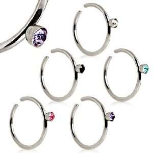 316L Surgical Steel Nose Hoop Ring with Black Gem   20g (0