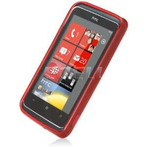 Ecell   RED SILICONE GEL SKIN CASE COVER FOR HTC 7 TROPHY Electronics