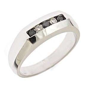 14K White Gold Black Diamond Mens Ring (1/4 cttw) Jewelry