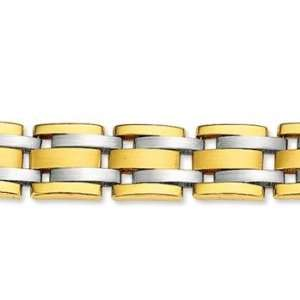 14k Two Tone Gold Wide 10.00mm Mens Stylish Bracelet Jewelry