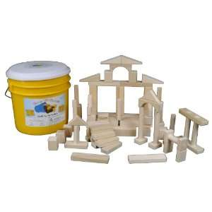 Bright Yellow Bucket of 80 Wooden Building Blocks for Children Toys
