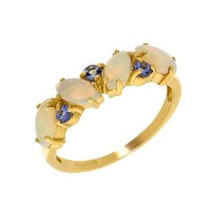 9ct Yellow Gold Opal & Tanzanite Ring Size 5.5 Jewelry