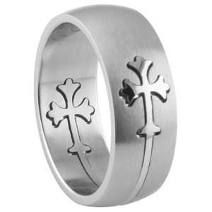 316L stainless steel  puzzle ring   Cross.Face & Band