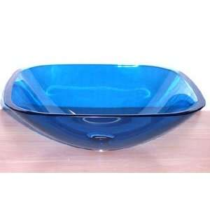 1/2 Thick Clear Blue Square Glass Vessel Sink + Pop Up