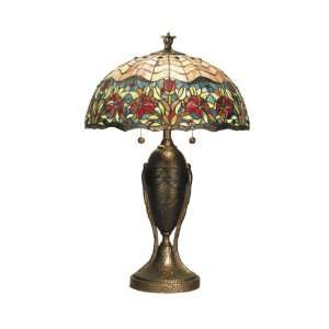 Tiffany TT50103 Abrahamson Lamp, Antique Brass and Art Glass Shade