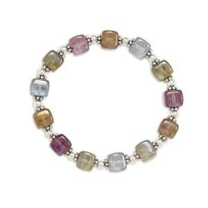 7 Multicolor Glass Cube Stretch Bracelet Jewelry