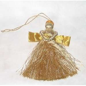Christmas Tree Ornament Golden Tassle Angel   Holiday Decoration