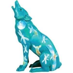 25 Inch Turquoise Moon Painted Howling Wolf Collectible Figurine