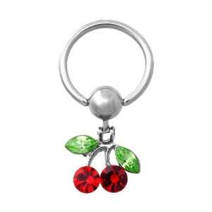 Dangling Cherry 316L Surgical Steel Captive Bead Ring   14G   Sold as