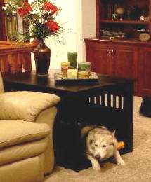 WOOD WOODEN PET DOG 36 CRATE HOME BED & END TABLE IN MAHOGANY OR
