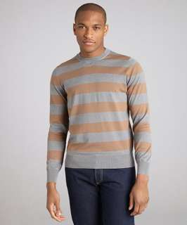 Brunello Cucinelli brown striped cotton long sleeve crewneck