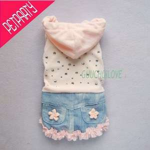 Pink Flowers For Dog Clothes Pet Denim Dress Cozy Hoodie Casual Free