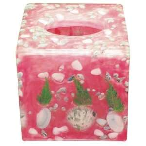 Beautiful real seashell square tissue box in rose color